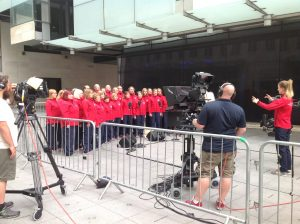 Games Maker Choir and camera crew at BBC1's Sunday Morning Live, 14 August 2016
